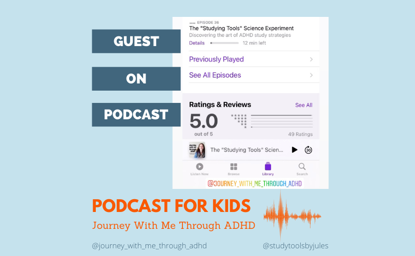 Guest on Podcast. Journey With Me Through ADHD. Episode 37. The Studying Tools Science Experiment.